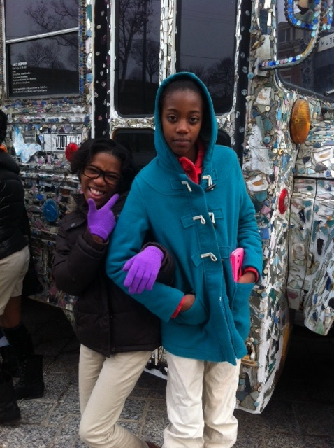 Girls having fun on a field trip to The Visionary Arts Museum